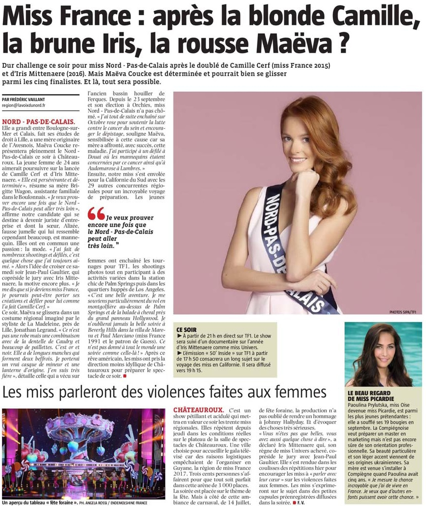 20171216 Mava Coucke Miss Nord VdN Photo revue de presse