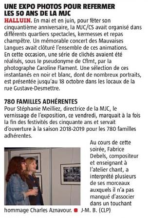 20181008 Expo Photos MJC au 18 Oct VdN revue de presse